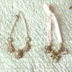 2 pink tone statement necklaces